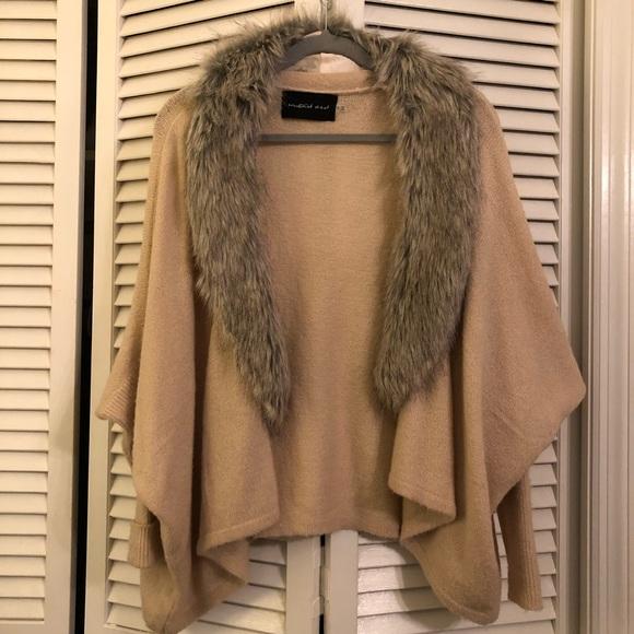 Mustard Seed Sweaters - Fur collar cardi!